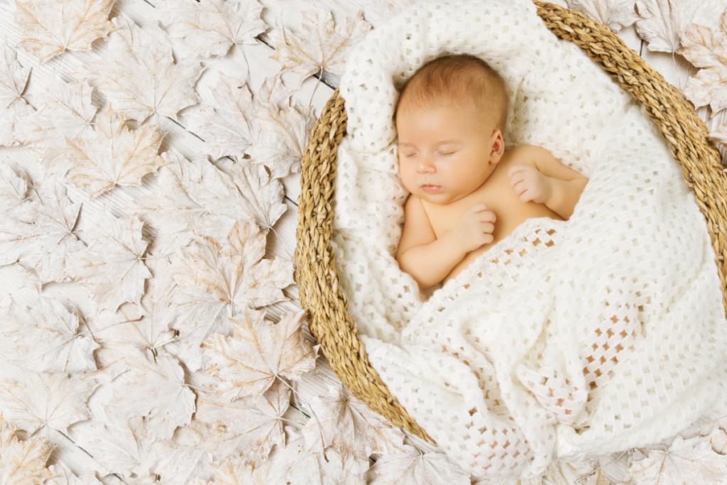 newborn baby sleeping soundly in a basket